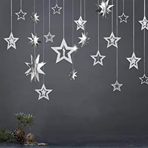 Decor365 Glitter Silver Star Garlands Kit Metallic 3D Star Decorations Hanging Paper Garland Twinkle Star Birthday Party Supplies Wedding Baby Shower Christmas Graduation New Year Ceiling Wall Decor