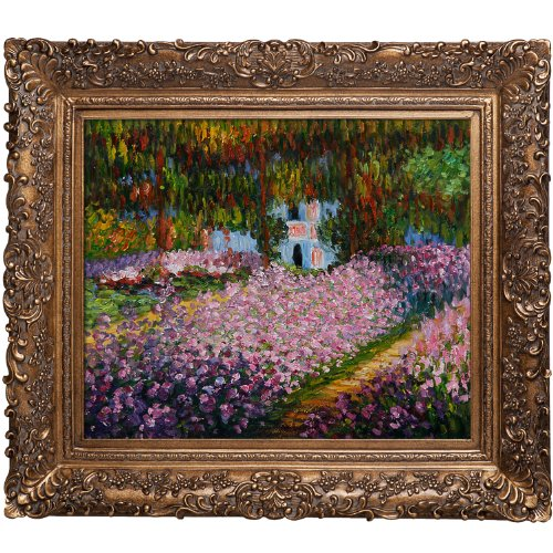 Hand-Painted Reproduction of Claude Monet Artist's Garden at Giverny Framed Oil Painting, 20 x 24