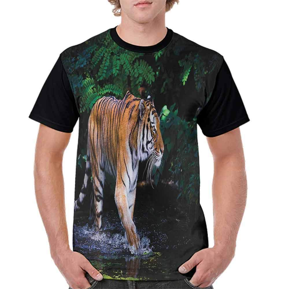 Casual Short Sleeve Graphic Tee Shirts,Tiger on Wood Wildlife Fashion Personality Customization