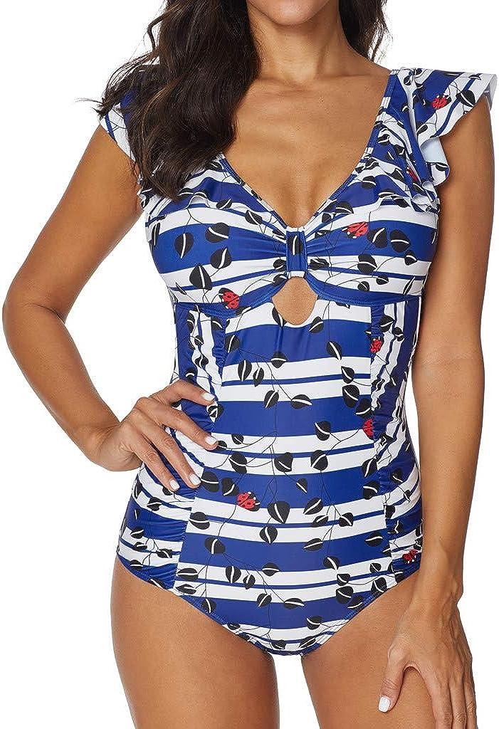 Alangbudu Womens Ruffle Cap Sleeve Padded Push Up Cutout One Piece Monokini Swimsuit Tummy Control Bathing Suit Swimwear