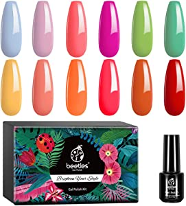 Beetles 12 Pc Macaroon Gel Nail Polish Kit - Spring Summer Red Neon Yellow Pink Orange Gel Polish Set Colors Collection Soak Off Nail Polish Gel Nail Art Salon Starter Gel Manicure Kit Gift Set