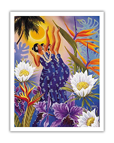 (Pacifica Island Art The Blossoms are Opening - Hawaiian Hula Dancers - From an Original Color Painting by Warren Rapozo - Hawaiian Fine Art Print - 11in x 14in)