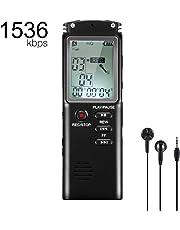 Flybiz Grabadora de Voz Digital Portátil, 8GB 1536kbps HD Grabador de Sonido con Reproductor de MP3, con Grabación de Micrófono Doble Clara, Activada por Voz, Conexión a PC, MP3, Memoria USB