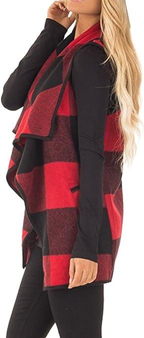 Yacun Mujer Abrigo Chaleco C/árdigan A Cuadros de Lana Frente Abierto Shawl Chaqueta sin Mangas Invierno