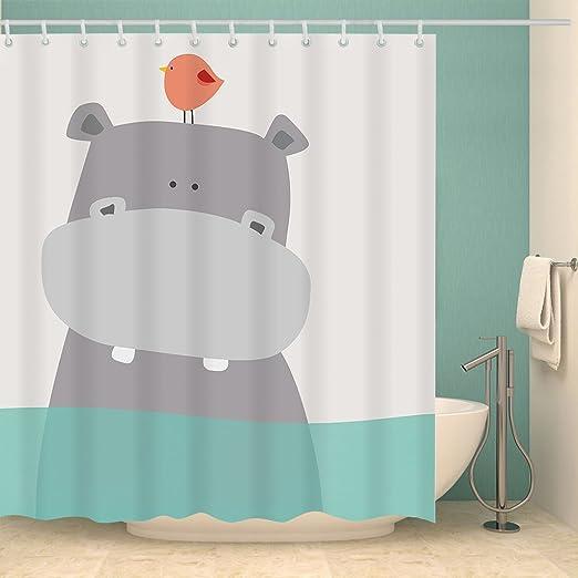 Cute Whale Children Shower Curtain Waterproof Fabric Bath 12 Hooks Decor