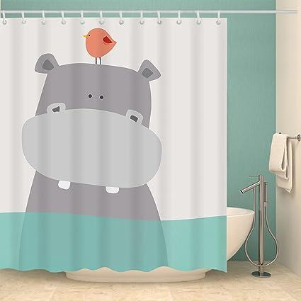 Cdcurtain Cartoon Hippo Kids Shower Curtain Set Cute Animal Polyester Waterproof Fabric Panel Bathroom 72