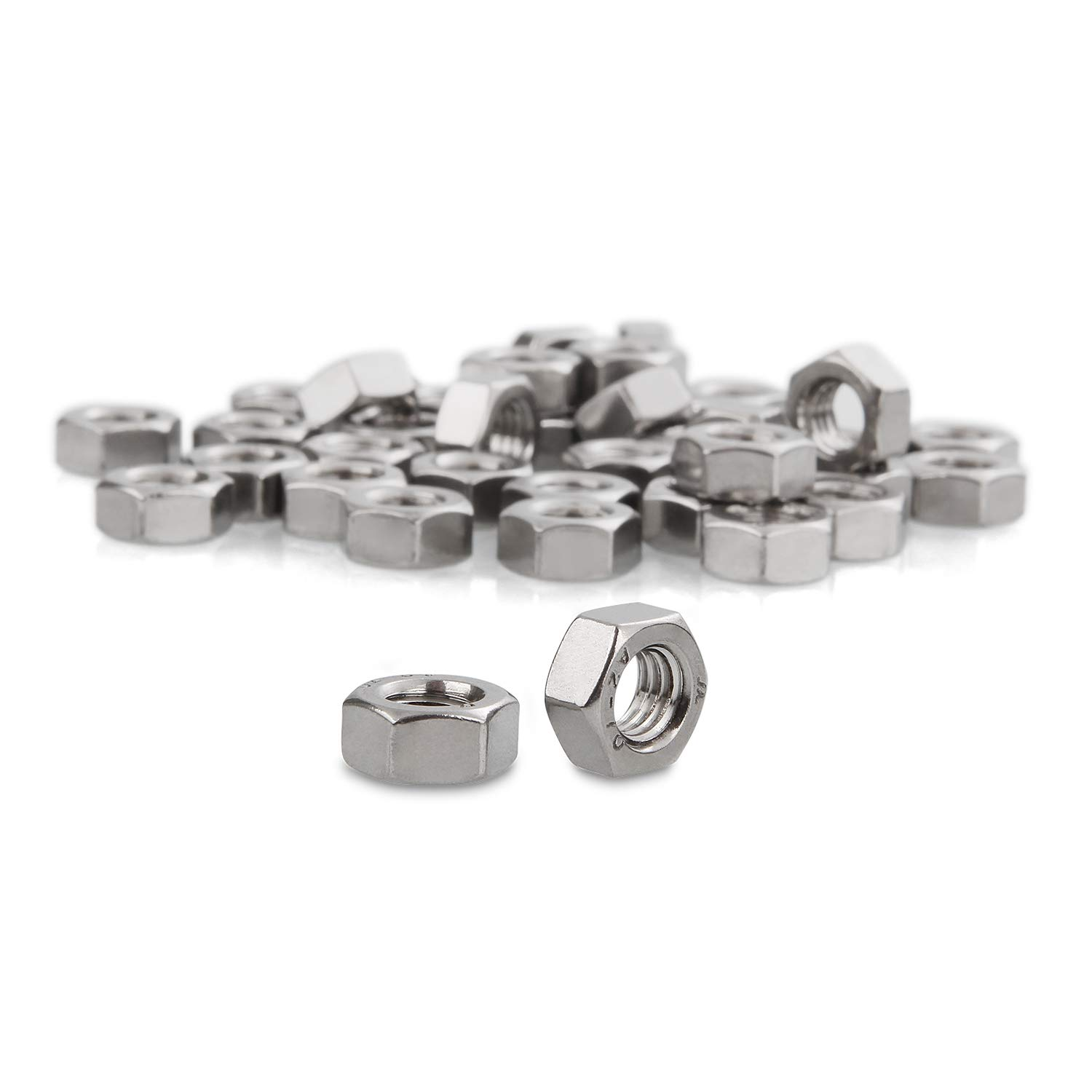 40 Pcs of Metric M8 Hex Nut Abuff M8 1.25 Stainless Steel Finished Hex Nut DIN931 Standard Hexagonal Nut Silver
