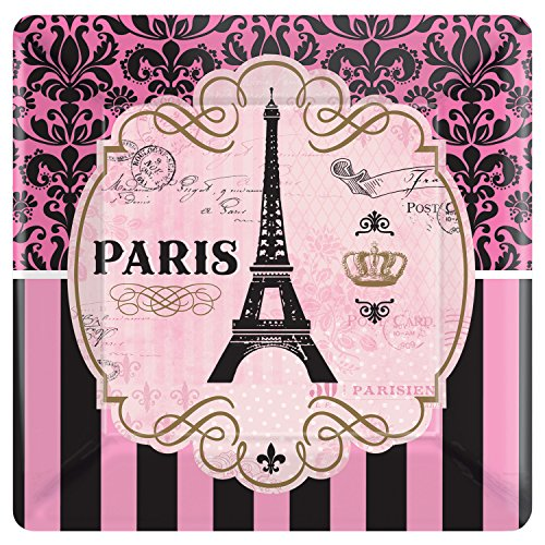 Amscan 591729 Party Supplies Day in Paris Square Plates, 10