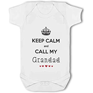 Baby Vest Keep Calm and Call My Grandad with cute hearts