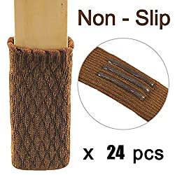 Chair Socks Leg Furniture Pads Feet Caps Covers Wood Floor Protectors for Chairs Non Slip Stripes Hardwood Laminate Tiled Flooring 24 Pcs