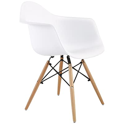 Design Tree Home FHF EAMA WHT Eames Style Arm Chair, Large, White