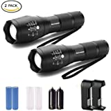 Super Bright LED Flashlight, Binwo 2000 Lumen CREE T6 Brightest LED Tactical Flashlight with Adjustable Focus and 5 Light Modes, 2 Rechargeable 18650 Batteries and 2 Chargers Include
