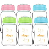Matyz 6-Pack Borosilicate Glass Breast Milk Bottles (6 oz, 3 Colors) - Wide Neck Breastmilk Collection and Storage Bottle - F
