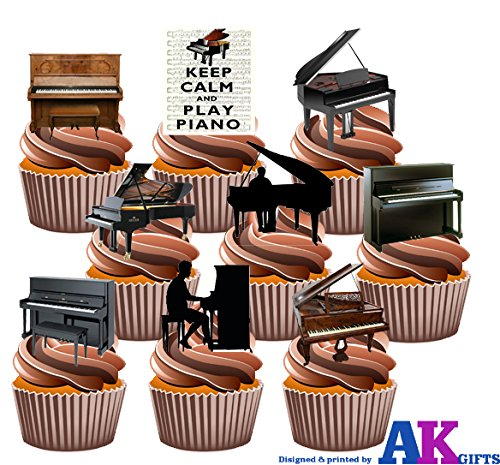 Price comparison product image AKGifts Piano,  Pianists,  Keep Calm Party Pack Mix- Edible Stand-up Cupcake Toppers (pack of 36) (7 - 10 BUSINESS DAYS DELIVERY FROM UK)