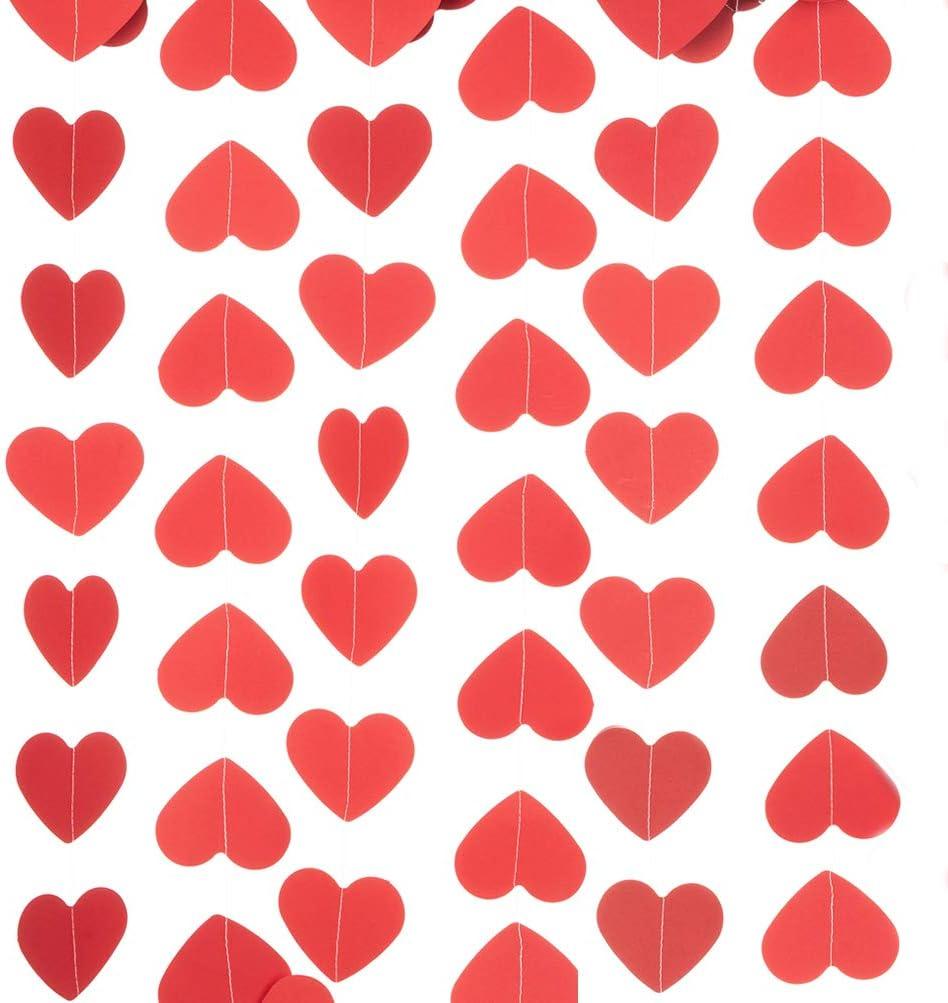 Diamond Glitter Red Paper Heart Garland Banner 8 Feet