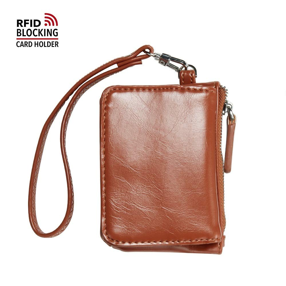 JCTHBAG Womens Small Leather Coin Purse RFID Credit Card Case With Wrist Strap (Tan Brown)
