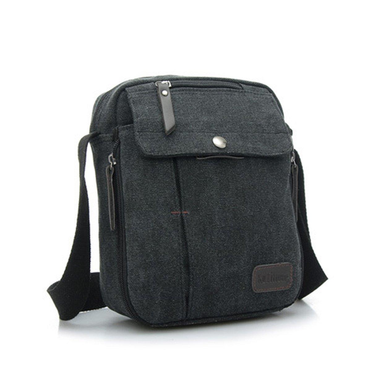 2a3aaca9f4e8 Jiele Men Vintage Canvas Messenger Bag Mini Ipad Shoulder Bag Hiking  Traveling Utility Work Bag Durable Multi pocket Sling Shoulder Bag Vintage  Military Men ...