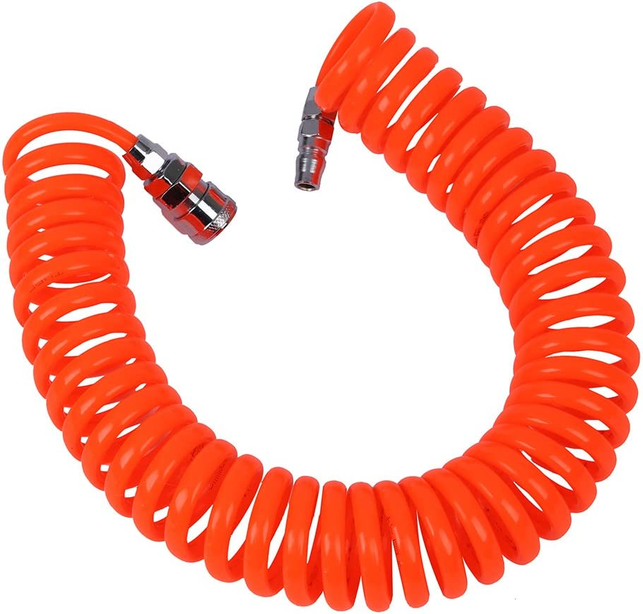 BMYUK Tuyau en spirale pneumatique flexible PU pour compresseur dair 6M 19.7ft 8mm x 5mm