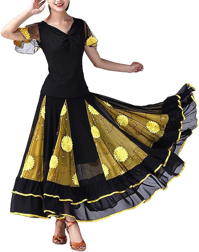 Tookang 2PCS Flamenco Swing Vals Danza Moderna Falda&Camiseta ...