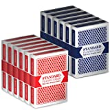 Toys : 12 Decks (6 Red/6 Blue) Wide-Size, Regular Index Playing Cards Set – Plastic-Coated, Classic Poker Size by Brybelly