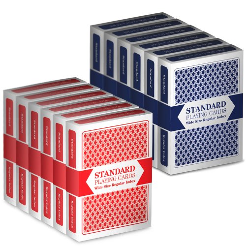 Poker Playing Cards Set - 12 Decks (6 Red/6 Blue) Wide-Size, Regular Index Playing Cards Set – Plastic-Coated, Classic Poker Size by Brybelly