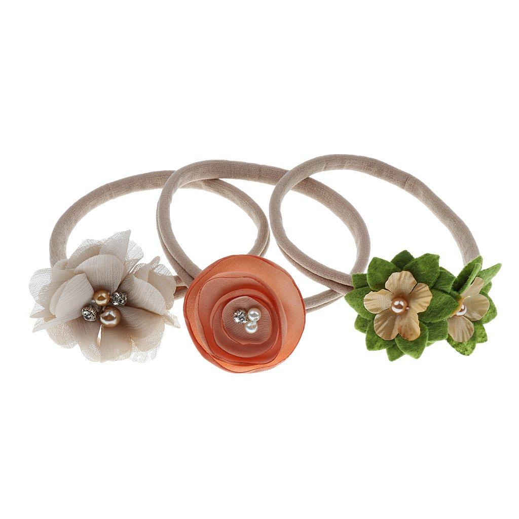 Sharplace Headband Fleur Perle Bébé Fille Nouveau Né Anniversaire Pack 3 - Beige, Head 10inch
