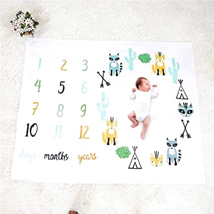 Angel Baby Monthly Milestone Blanket,Newborn Baby Milestone Blanket Photography Prop Background Monthly Growth Shooting Photo Bedding Wrap Swaddle 100x100cm