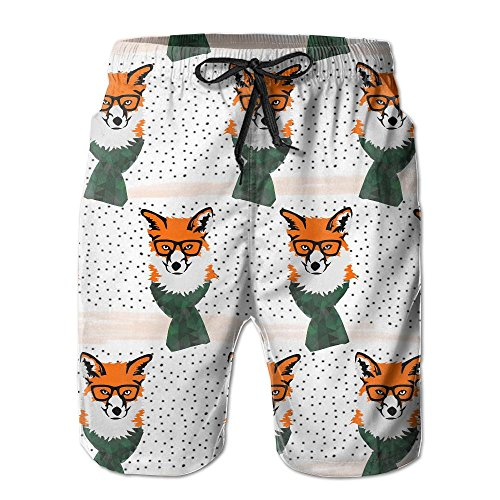 NUNOFOG Winter Fox With Scarf Men's Swim Boardshorts Quick-Dry Surf Beach Shorts Casual Sport Trunks Shorts Beach Pants With Pocket