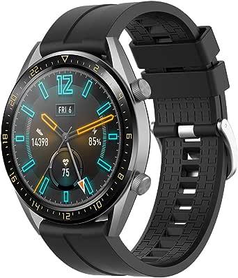 Supore Rem kompatibel med Huawei Watch GT2 46 mm/klocka GT 46 mm/klocka GT Active/Watch 2 Pro/Honor Watch Magic/Galaxy Watch 46 mm/Gear S3/Gear 2, 22 mm mjuk silikon ersättningsrem