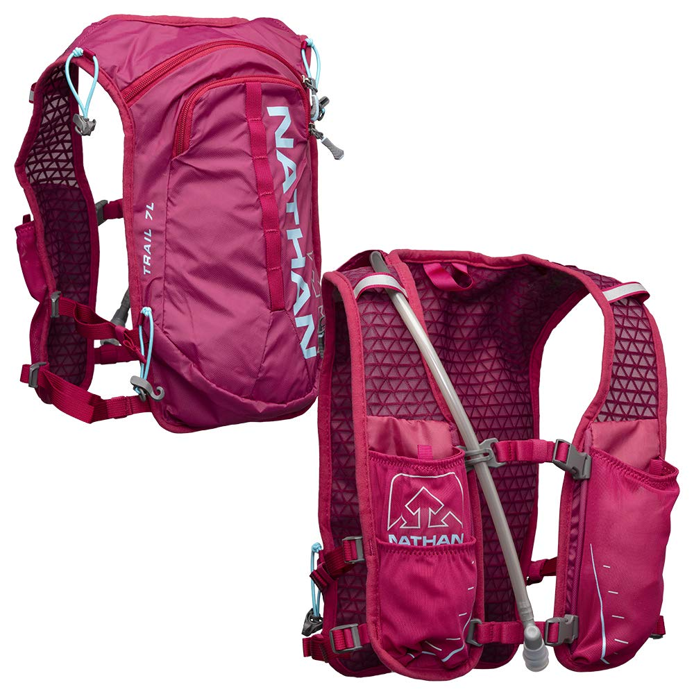 Nathan TrailMix Running Vest/Hydration Pack. 7L (7 Liters) for Men and Women | 2L Bladder Included (2 liters). Zipper, Phone Holder, Water (Sangria/Magenta Purple/Sky Blue, One Size Fits Most) by Nathan