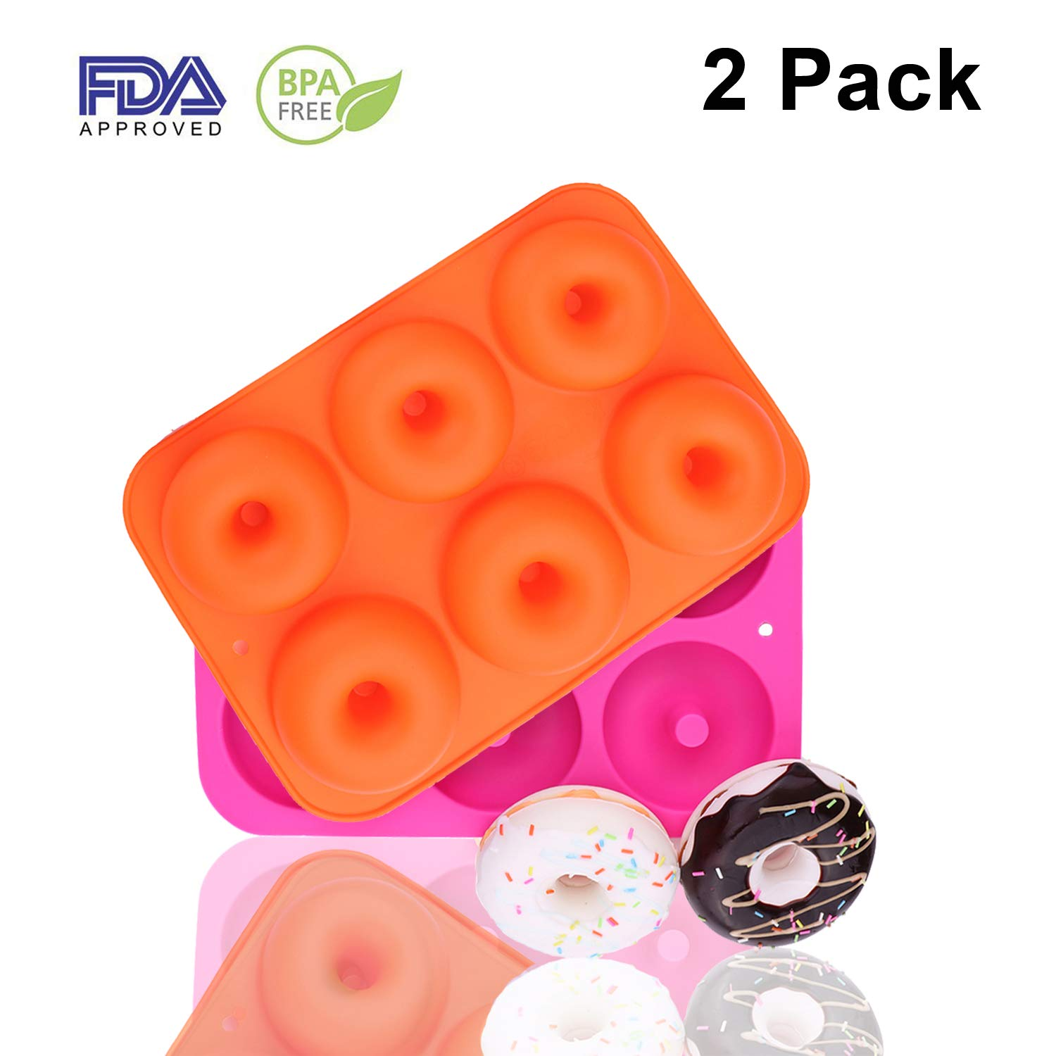 Messar 2-Pack Donut Pan Set, Silicone Doughnuts Tin Safe Baking Tray Maker Pan, Non-Stick Cake Mold, Easy to Bake Full Size Perfect Shaped Donuts to Sweeten Your Hole Day (Orange & Rose red)