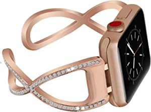 V-MORO Bling Bracelet Compatible with Watch Band 38mm 40mm Series 5/4/3/2/1 Women Girl Jewelry Metal Stainless Steel Strap,Replacement Wristband With Bling Diamond (Rose Gold 38/40mm)
