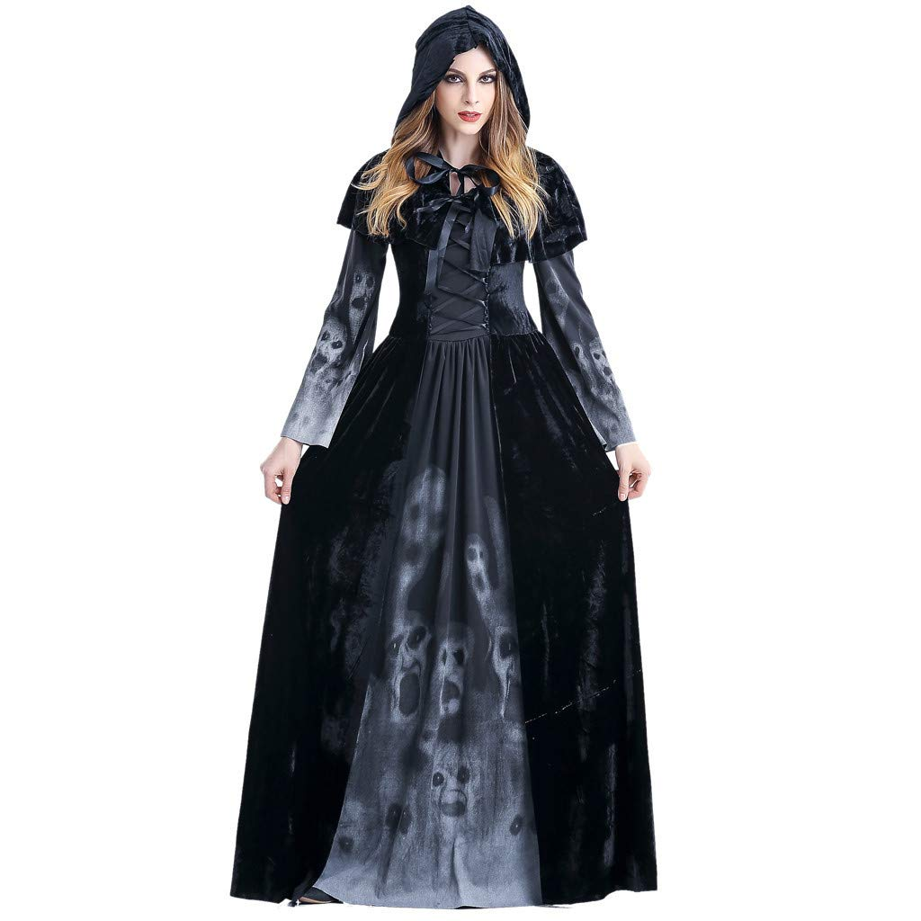Bravetoshop Dress for Womens, Halloween Cosplay Costume Vintage Witch Long Sleeve Hooded Maxi Dress(Black,XL)