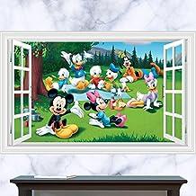 Fange DIY Removable 3D Window View Disney Cartoon MickeyMouseandDonaldDuck Art Mural Vinyl Waterproof Wall Stickers Kids Room Decor Nursery Decal Sticker Wallpaper 35.4''x23.6''(Disney)