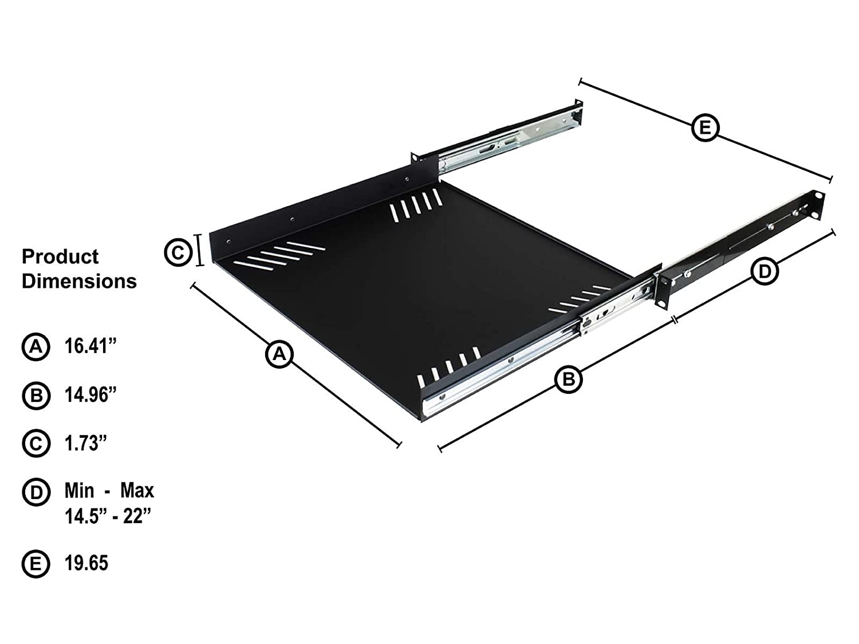 Penn Elcom R1290//1U Sliding Rack Tray Audio, AV, IT, DJ Equipment Shelf for 1 Rack Space up to 15 Deep DJ Equipment Shelf for 1 Rack Space up to 15 Deep