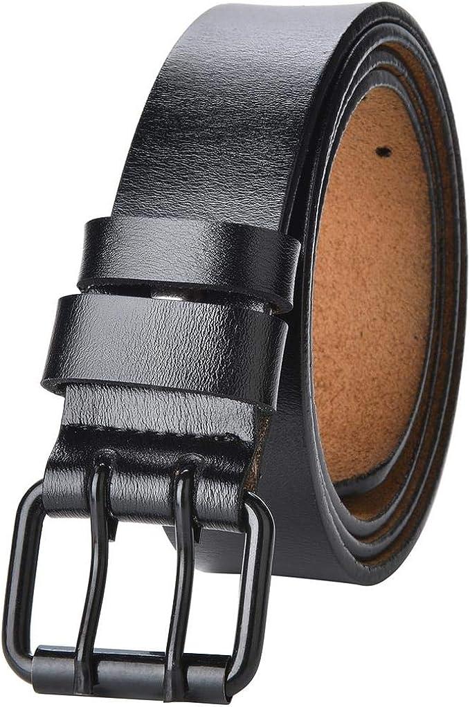Donna Uomo Jeans Cintura con retro in pelle NERO da uomo cintura 3,8 cm di larghezza