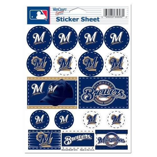 (Wincraft MLB Milwaukee Brewers 27169012 Vinyl Sticker Sheet, 5
