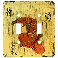 3dRose lsp_116373_2 Japanese Samurai with Swords Kanji Brave Energy Samurai Symbols Oriental Design Double Toggle Switch