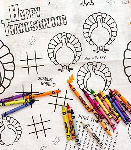 Kids Coloring and Activity Thanksgiving Tablecloth Bundle - 2 Items: 1 Paper Tablecover (54
