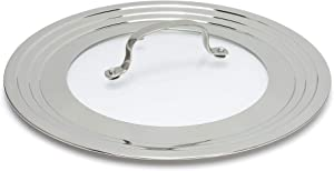 Goodful Universal Lid for Pots, Pans and Skillets, Tempered Glass Steam Vented, Graduated Rim Fits 9.5