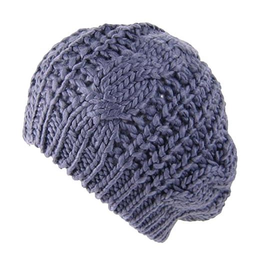7644d792c3d1e Perman Women s Beret Braided Baggy Beanie Crochet Warm Ski Knitted Hat Cap  (One Size