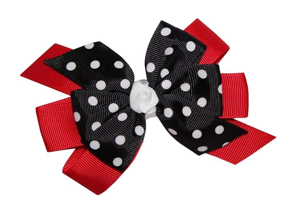"ladybird glitter 4/"" bow clip red black silver Girls Handmade ladybug"