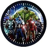 Rusch Inc. Avengers Ironman Thor Hulk Captain America Spiderman Black Frame Wall Clock E426 Nice For Gift or Home Office Wall Decor 10''