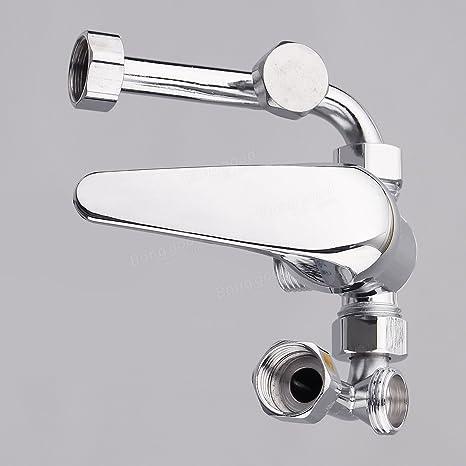 Paleo Tipo U calentador de agua eléctrico de cromo mezclando sola manija baño de acero inoxidable válvula del grifo de la válvula: Amazon.es: Hogar