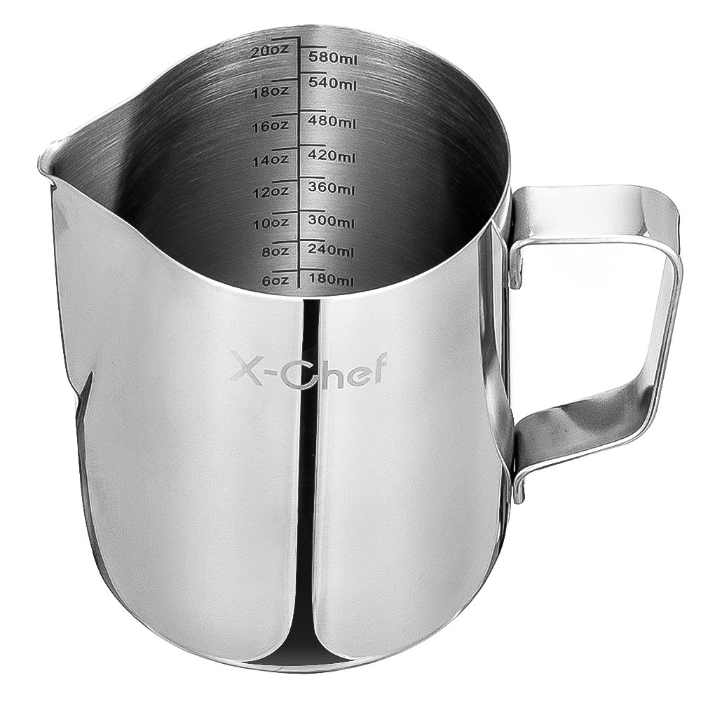 Milk Frothing Pitcher, X-Chef Stainless Steel Creamer Frothing Pitcher 20 oz (600 ml) by X-Chef (Image #8)