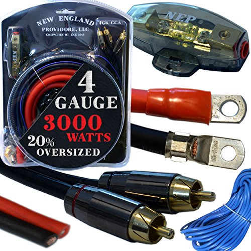 - 20 Foot 4 Gauge Amp Kit Featuring 20% Oversized Cables - Complete 12V Audio Amplifier Installation & Wiring Kit