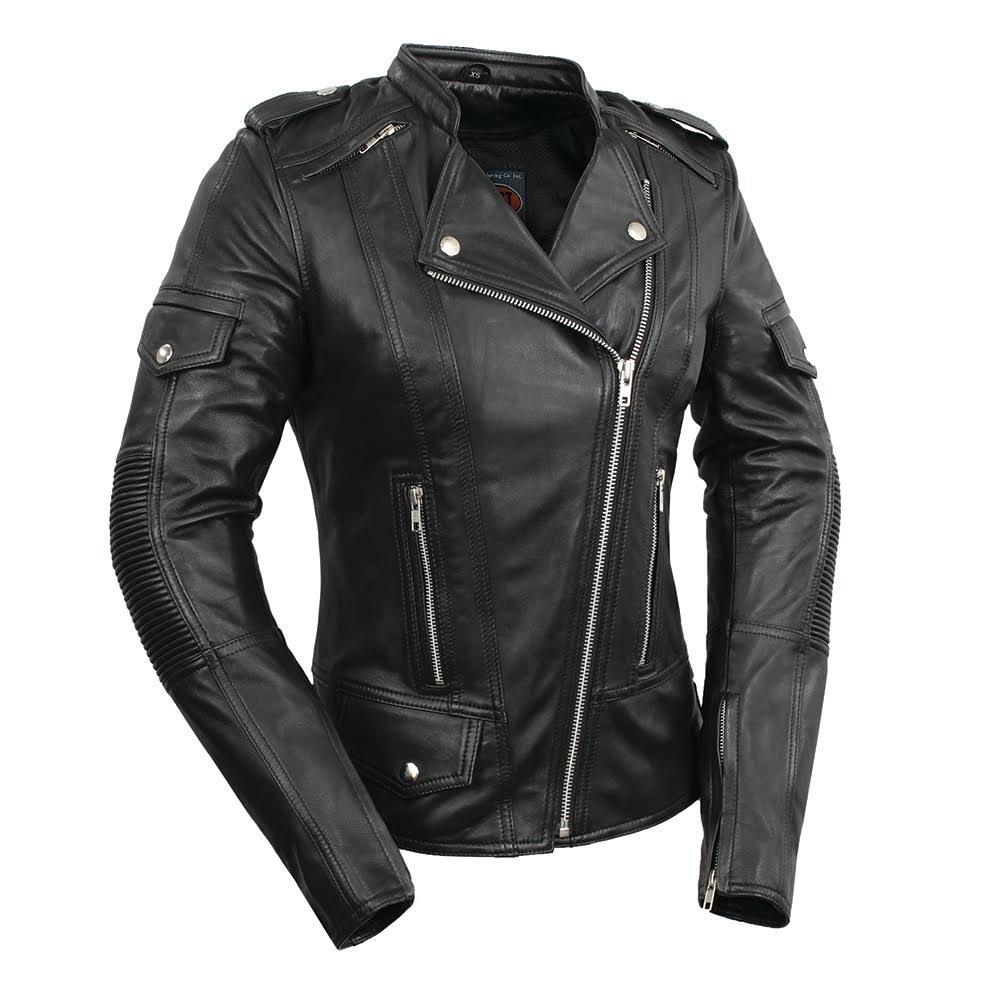 First Manufacturing Women's Tantrum Leather Motorcycle Jacket (Black, XX-Large) FIL196SDMZ-Black-2XL-Tantrum