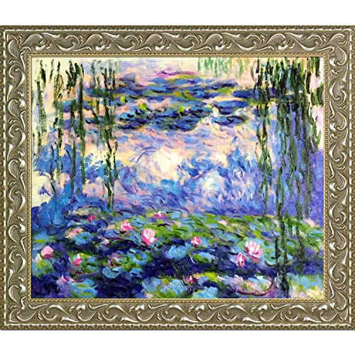 Hand Painted Lily - La Pastiche OverstockArt Water Lilies by Claude Monet Hand Painted Oil on Canvas with Rococo Silver Frame, 29.5