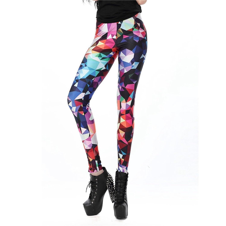 SiGaMEN New Fashion Women Leggings 3D Printed Legins Ray Fluorescence Pants KDK1491 L