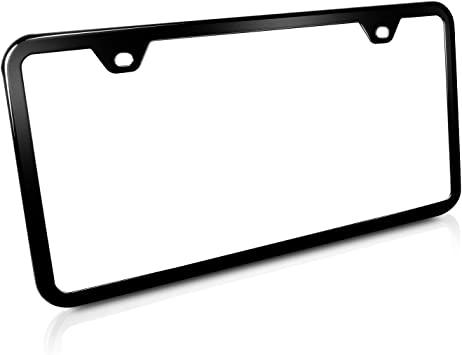 2 Holes Plain Black Slimline Metal License Plate Frame